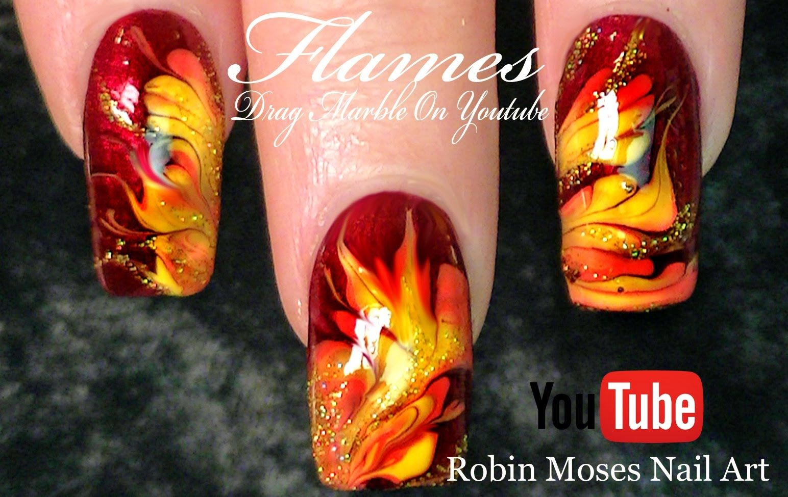 No Water Needed - Fall Flames DIY Drag Marble nail art Tutorial ...