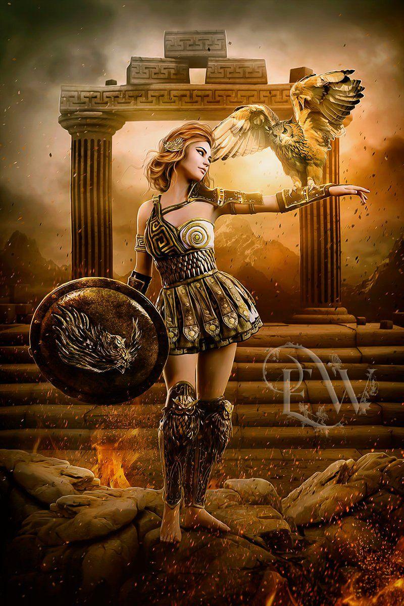 Athena Greek Goddess Art Print Owl Art Digital Art Athena Wall Decor Digital Painting Greek Goddess Art Greek Mythology Art Athena Greek Goddess