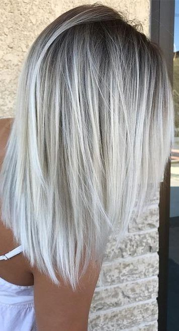 50 Gorgeous Balayage Hair Color Ideas For Blonde Short Straight Hair Short Straight Hair Is Perfect For These Balayage Hair Silver Blonde Hair Icy Blonde Hair