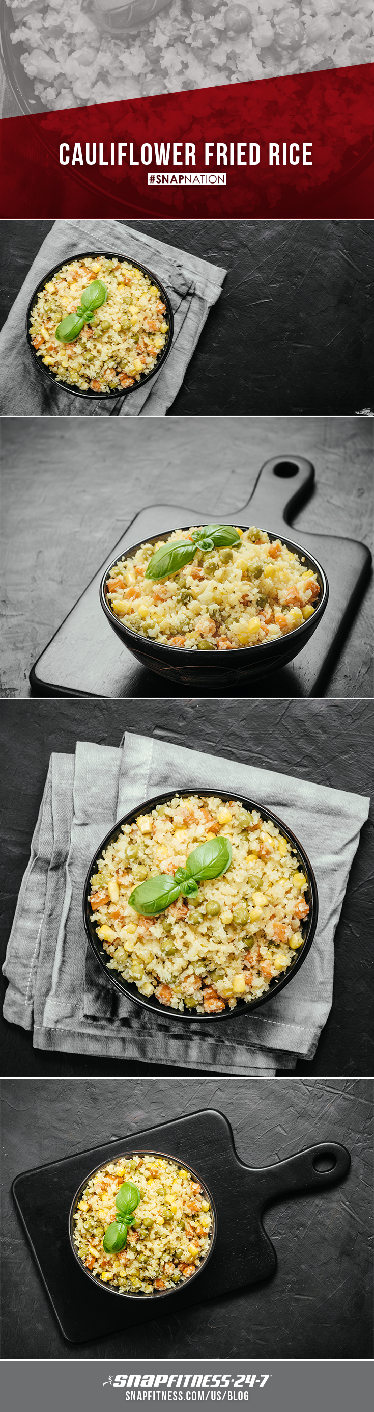 Cauliflower is a great low carb and gluten free substitute for many of your favorite meals. This fiber filled veggie can be turned into pizza crust, mac & cheese, or fried rice! Visit our blog to learn how to make this delicious, veggie-filled, cauliflower fried rice.