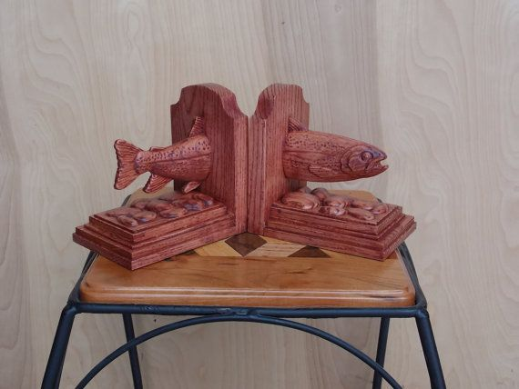 Trout Bookends Wood Carving Fishing Decor Man Cave Gifts For Men