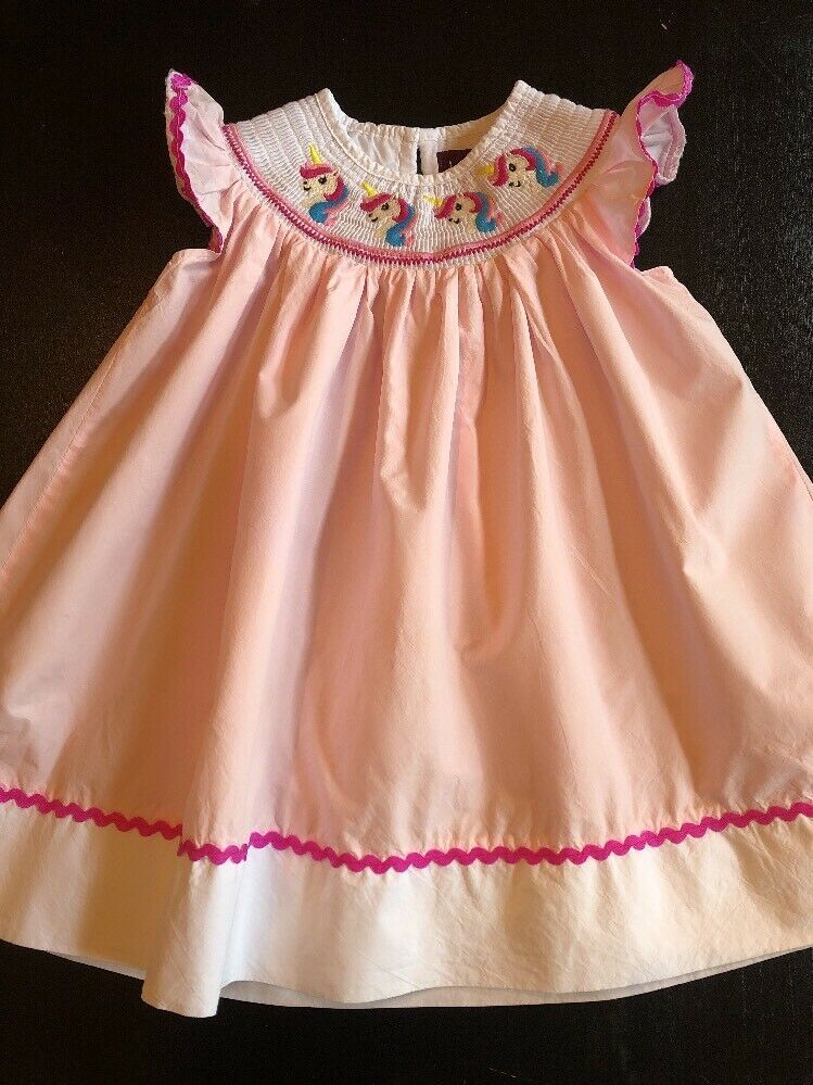 Lil Cactus Girls Smocked Dress Size 6 12 Months Pink Unicorn 6 9 12 Mo Fashion Clothing Shoes Accessorie With Images Girls Smocked Dresses Girl Outfits Baby Girl Dress