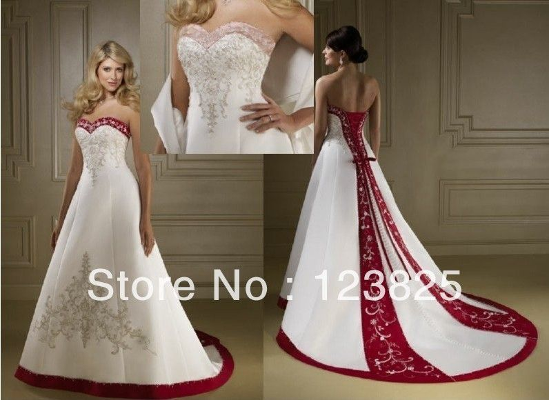 vestido de boda rojo con blanco rojo y blanco de la boda | vestidos