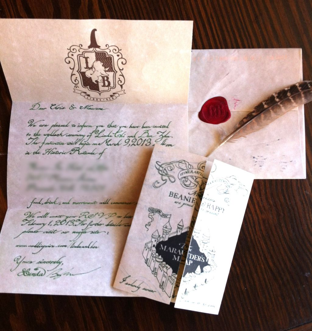 Harry Potter Letter To Hogwarts Wedding Invitation Some Tailoring For Our Own Theme Would Be Done Though Party Ideas In 2019