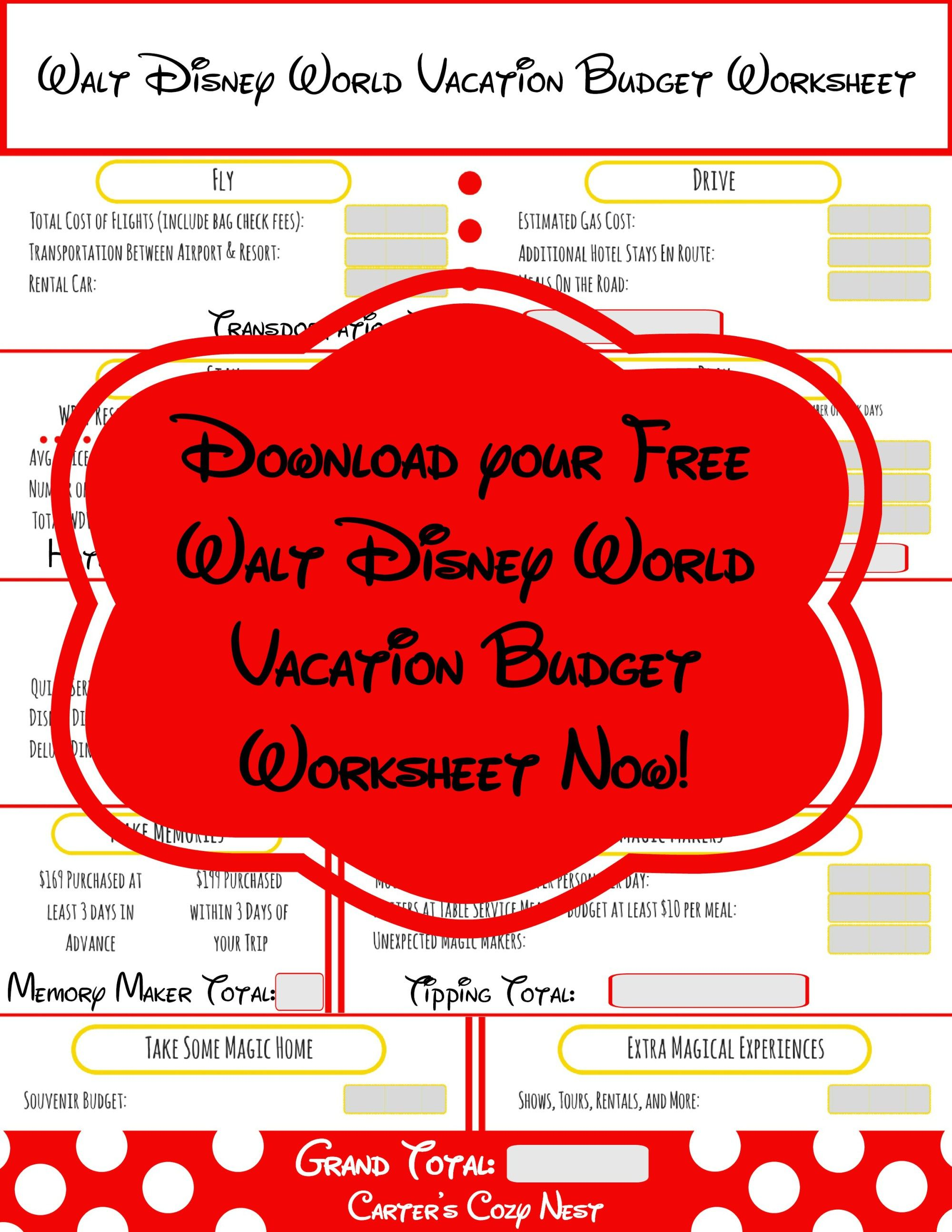 Walt Disney World Vacation Budget Worksheet  Disney world