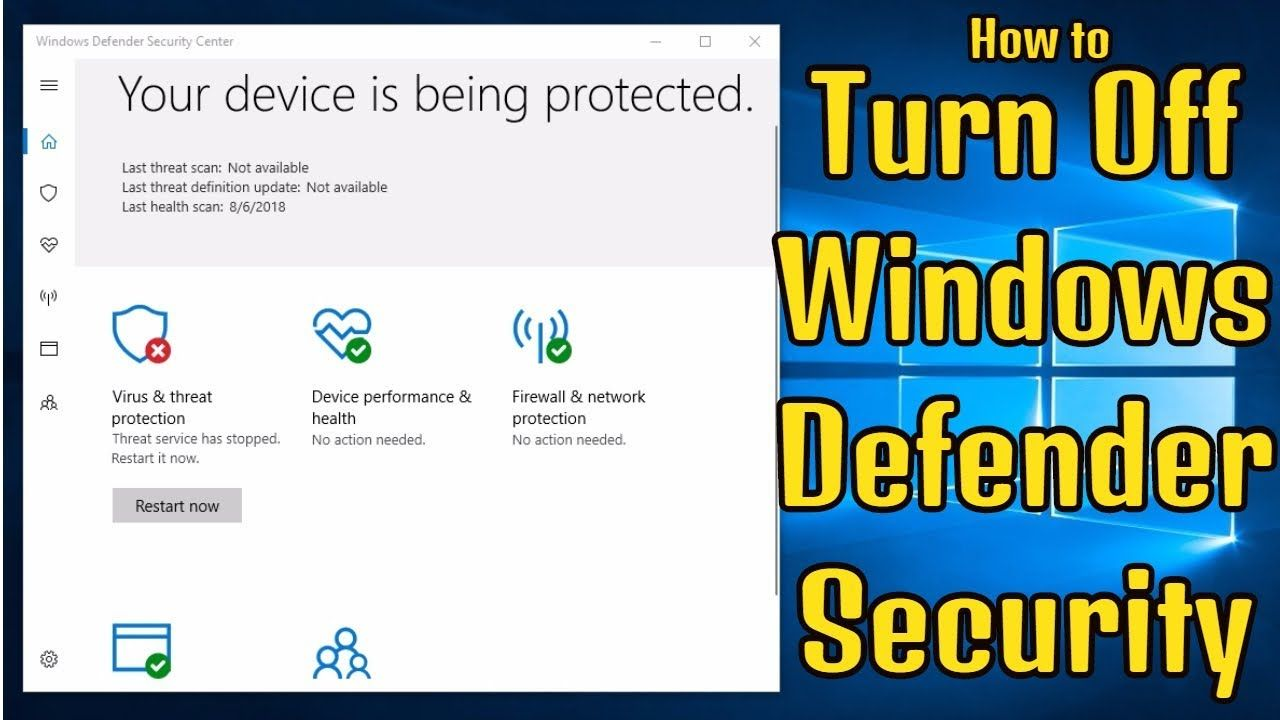 How to Turn Off Windows Defender Security Center in Windows 10