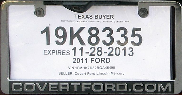 Texas+Temporary+License+Plate Texas tag, Paper tags