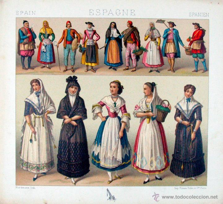 Vestidos Inspirados En La Cultura Griega: ANTIGUA LITOGRAFIA SIGLO XIX TRAJE MODA ESPAÑA