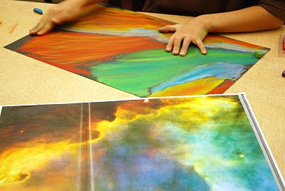 art project with pastels inspired by pictures taken by the Hubble telescope