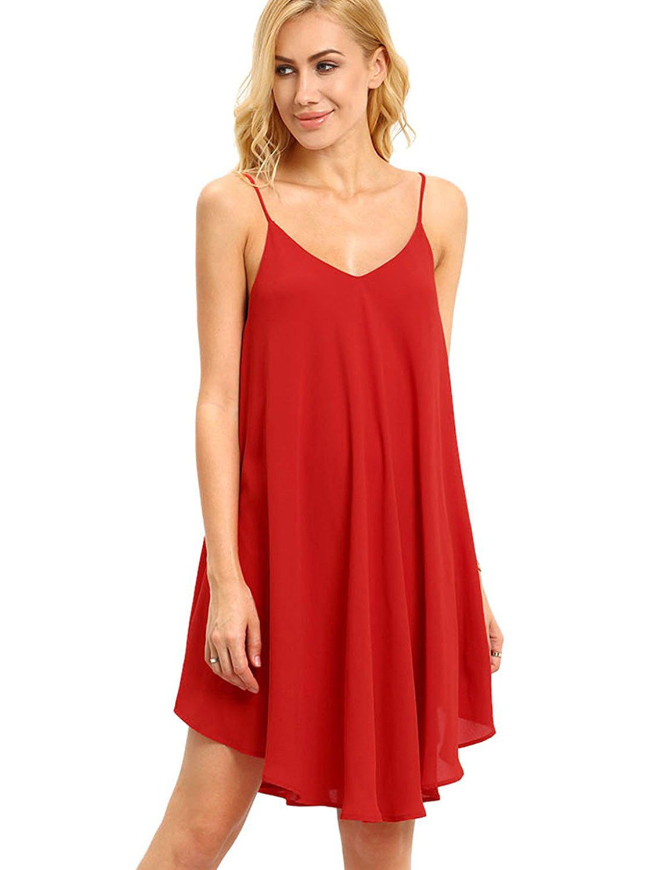 75418f1a42 Shop Spaghetti Strap Asymmetrical Shift Dress Sundresses EmmaCloth-Women  Fast Fashion Online
