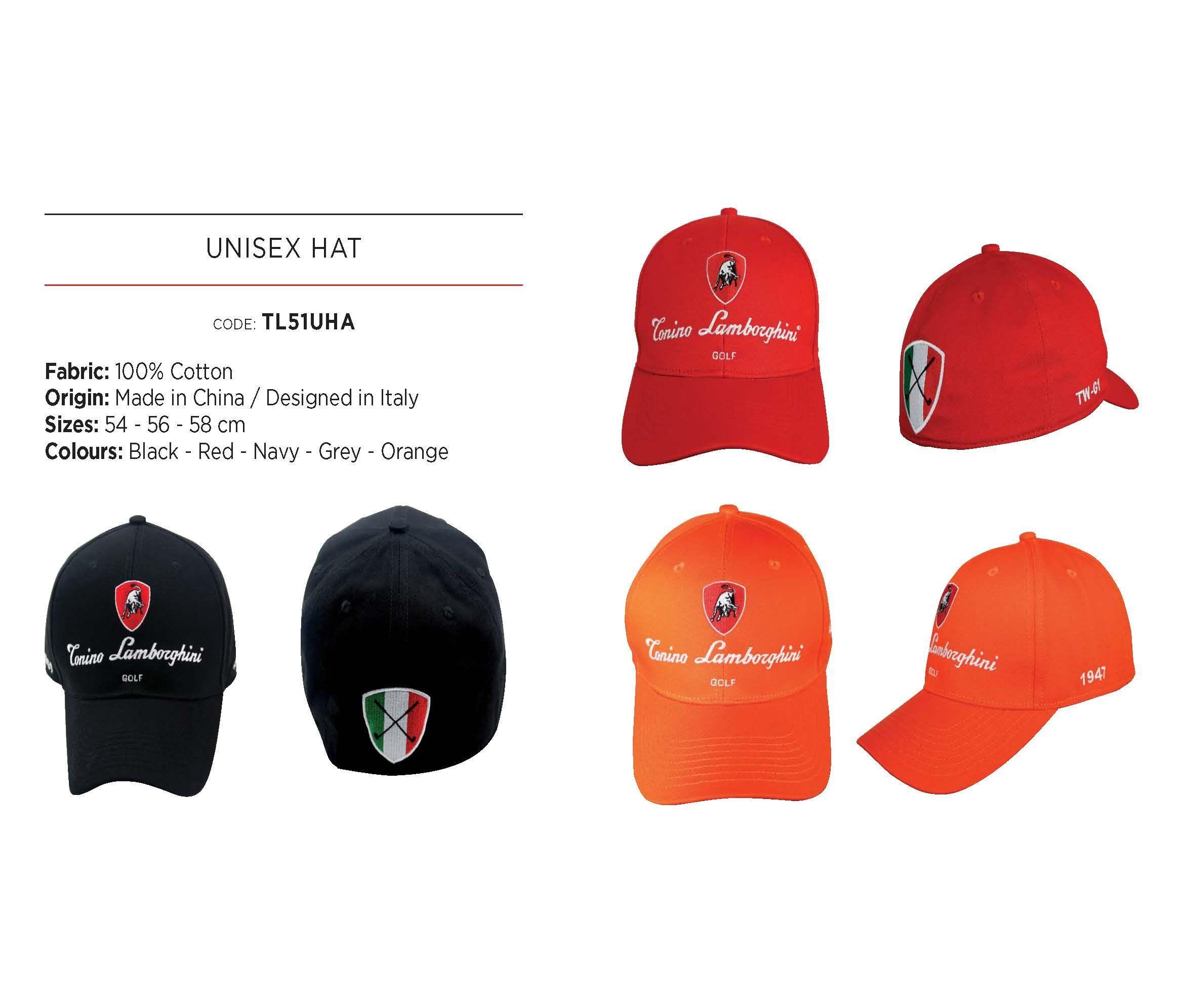 a18e8585348 Men Golf Clothing - Tonino Lamborghini Unisex Cotton Golf Cap Black 54 cm.