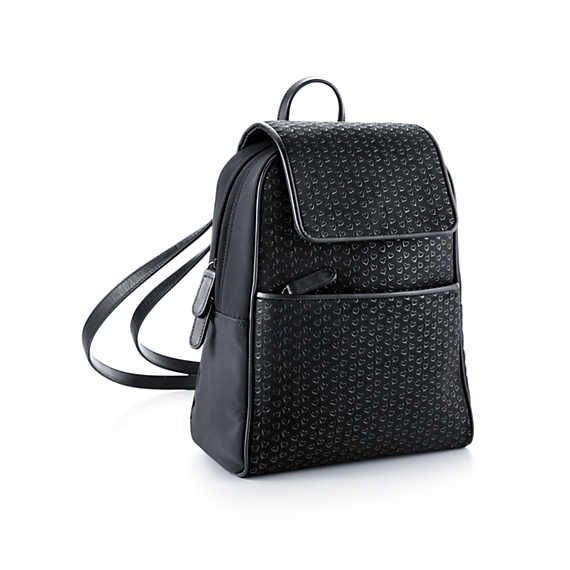 Elsa Peretti® backpack in black leather with lacquered Open Hearts.