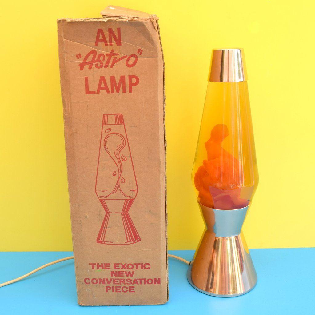 Vintage 1960s Crestworth Copper Astro Lava Lamp Orange With Box Lava Lamp Lamp Conversation Piece