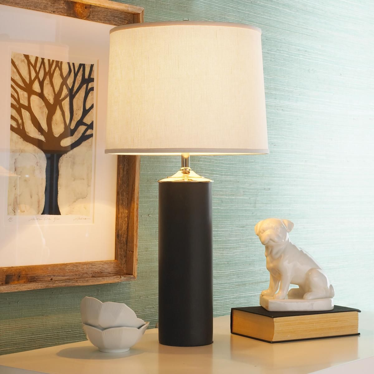 ffdf3a79dda0 Black Modern Cylinder Ceramic Table Lamp with White linen drum shade $129