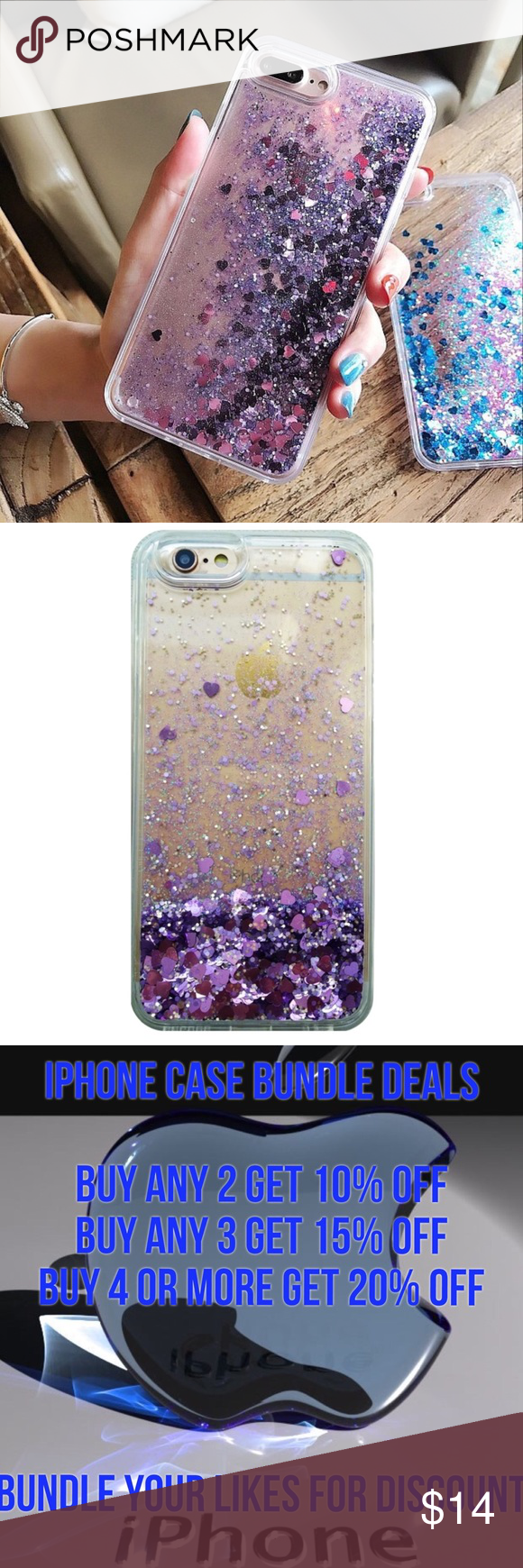 iPhone 7 Plus Liquid Glitter Quick Sand Case ➡️Discount Only With Bundle Of 2 Or More Items⬅️  Show off your iPhone 7 Plus phone while protecting it from bumps and scratches.  * High Quality Hardshell Case * Gorgeous Purple Glitter with Hearts  * Bump/ Anti Shock  * Fitted Design * New In Package  * Same Or Next Day Shipping Accessories