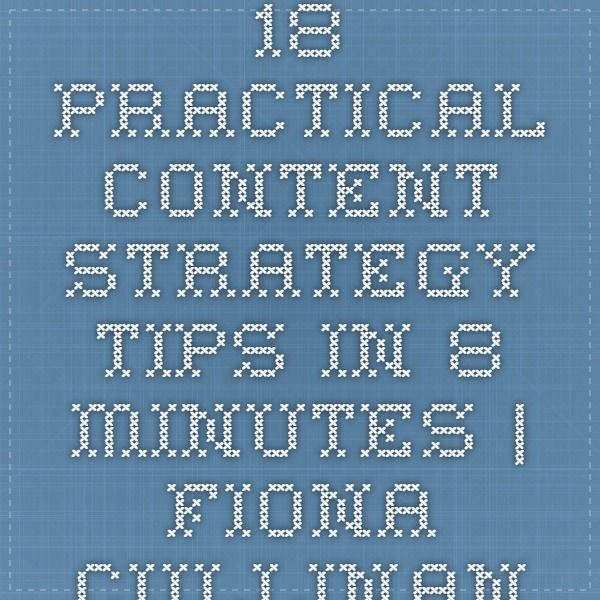 18 practical #content #strategy #tips in 8 minutes | Fiona Cullinan