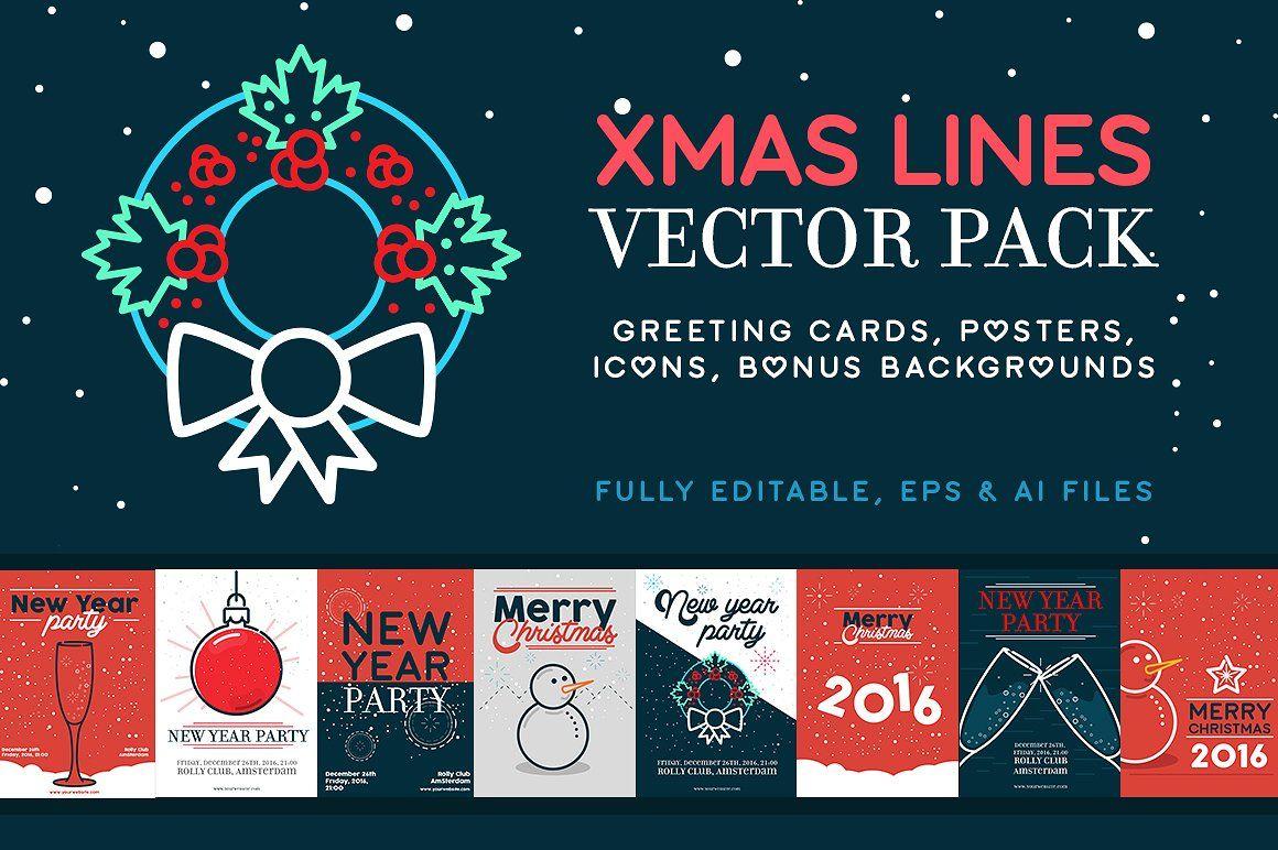 XMAS LINES Vector Pack + Bonus Flyer template, New year
