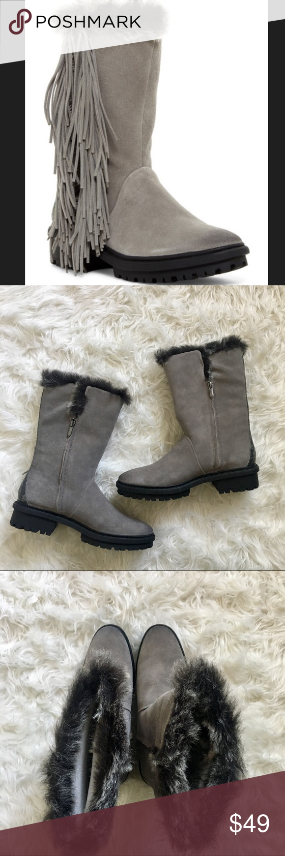 da5296d988f346 SAM EDELMAN TILDEN FAUX FUR SNOW RAIN BOOTS FRINGE A cold-weather boot from  Sam
