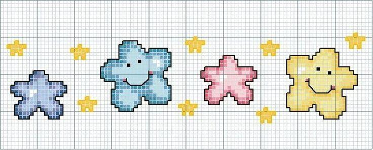 Punto De Cruz Estrellas Para Bebés Estrella Punto De Cruz Cenefas Punto De Cruz Punto De Cruz Infantil