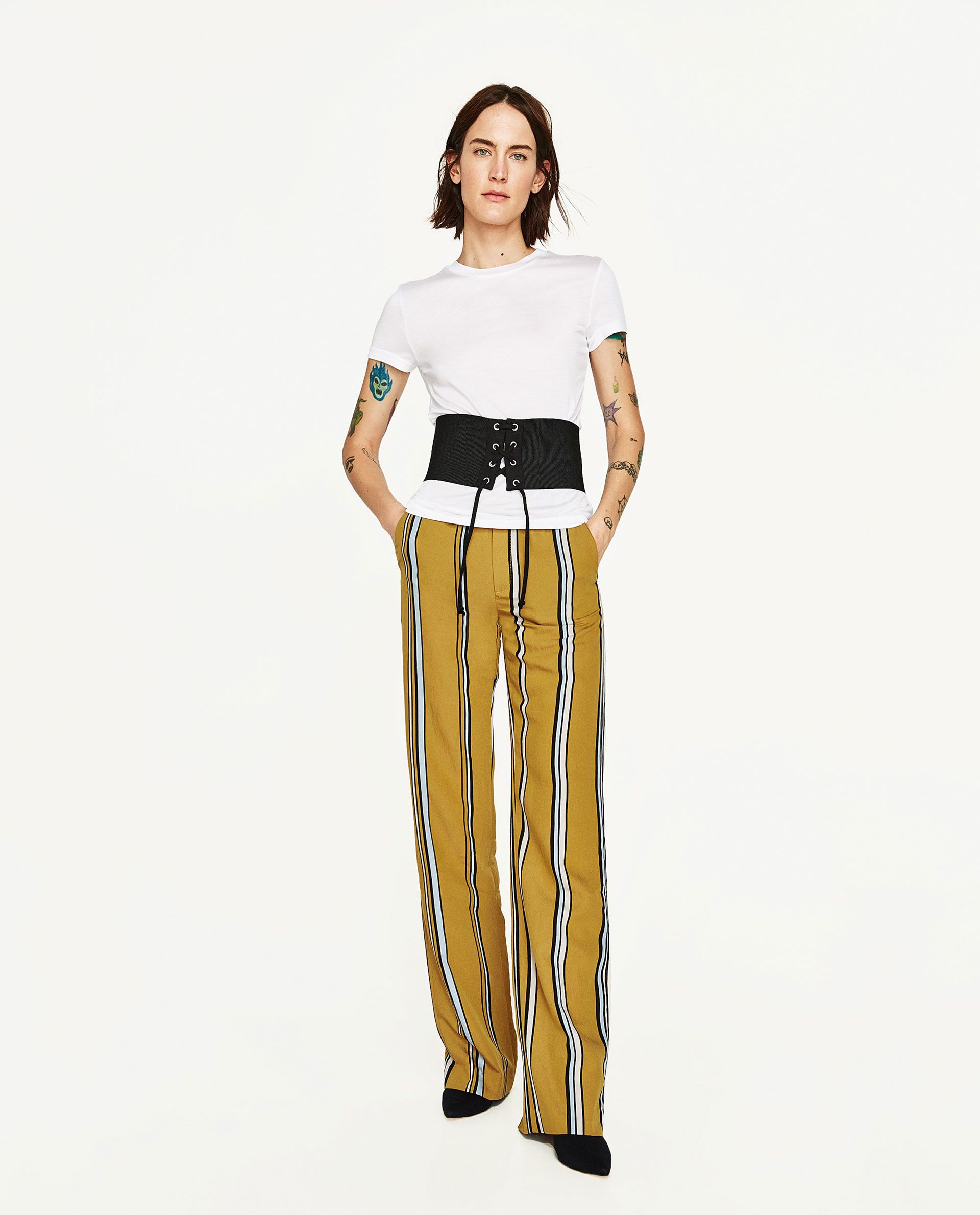 Pantalones De Rayas Zara Mujer