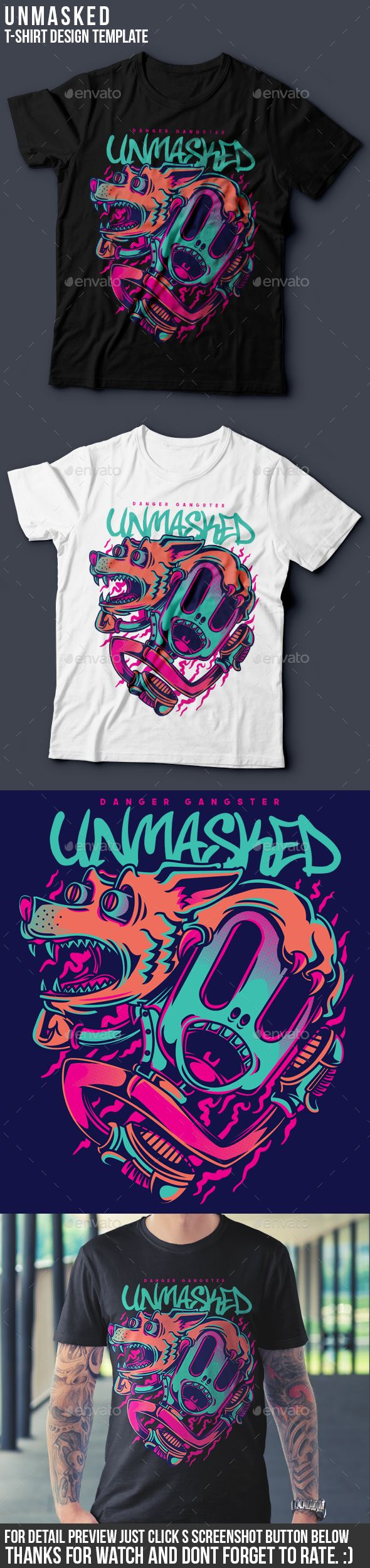 Unmasked TShirt Design — Vector EPS #wolf #shop • Available here → https://graphicriver.net/item/unmasked-tshirt-design/19659420?ref=pxcr