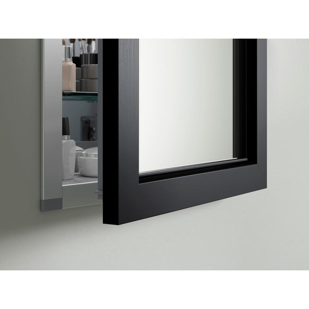 Kohler 20 In W X 26 In H Recessed Or Surface Mount Anodized Aluminum Medicine Cabinet With Frame In Black Forest 99891 20 F2 The Home Depot Medicine Cabinet Mirror Recessed Medicine Cabinet