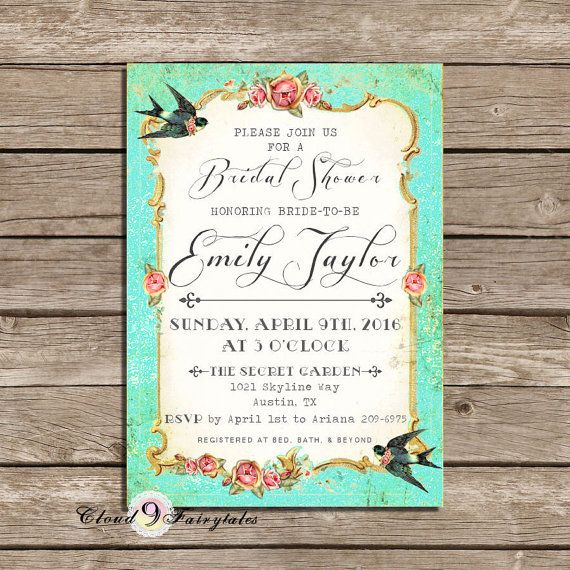 Fancy Turquoise Bridal Shower Invitations Handmade Invites