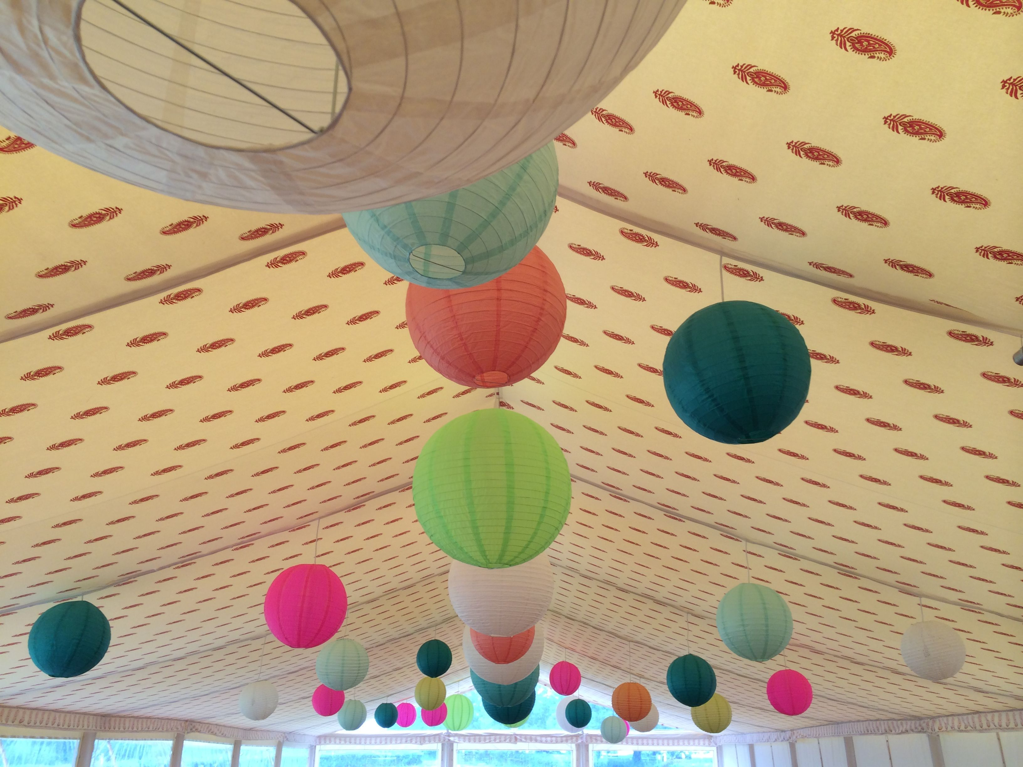 Printed linings and multi coloured lanterns!