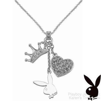 Playboy necklace bunny heart tiara crown charms pendant swarovski playboy necklace bunny heart tiara crown charms pendant swarovski crystals rare aloadofball Image collections