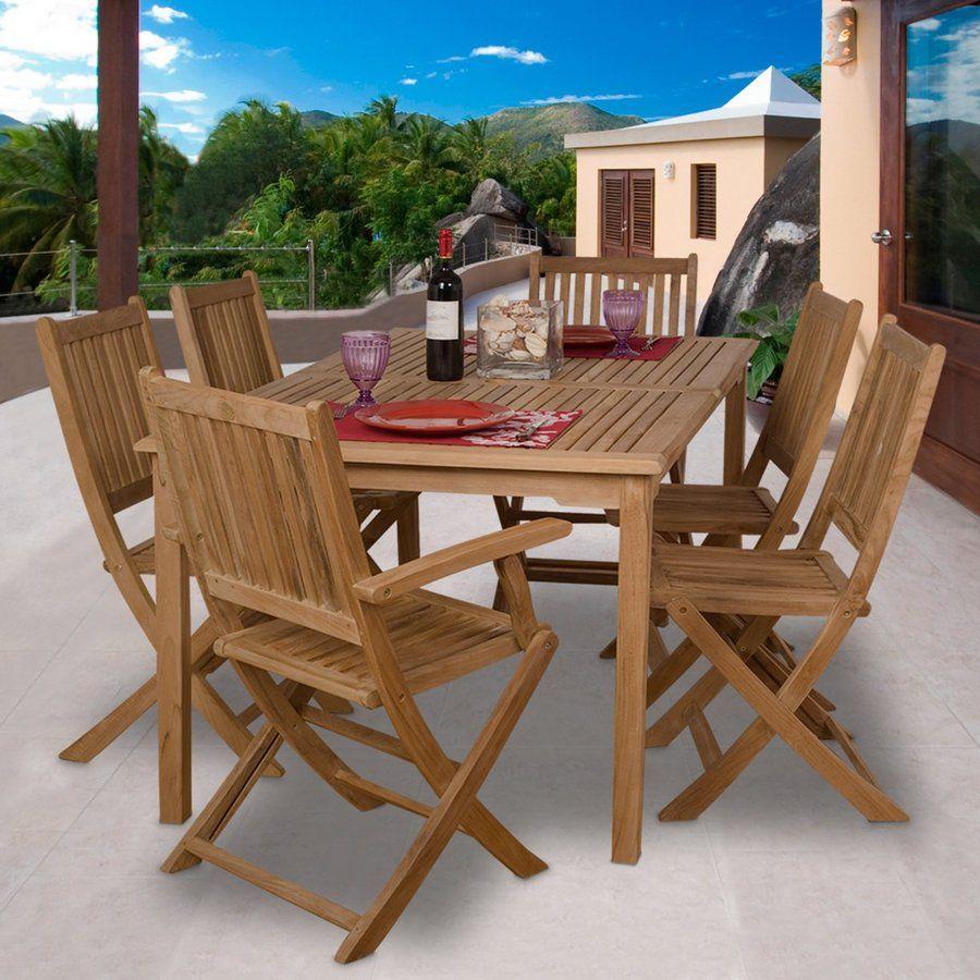 International Home Amazonia Teak 7 Piece Brown Wood Frame Patio Dining Set Lowes Com Patio Dining Set Outdoor Dining Set Teak Patio Furniture