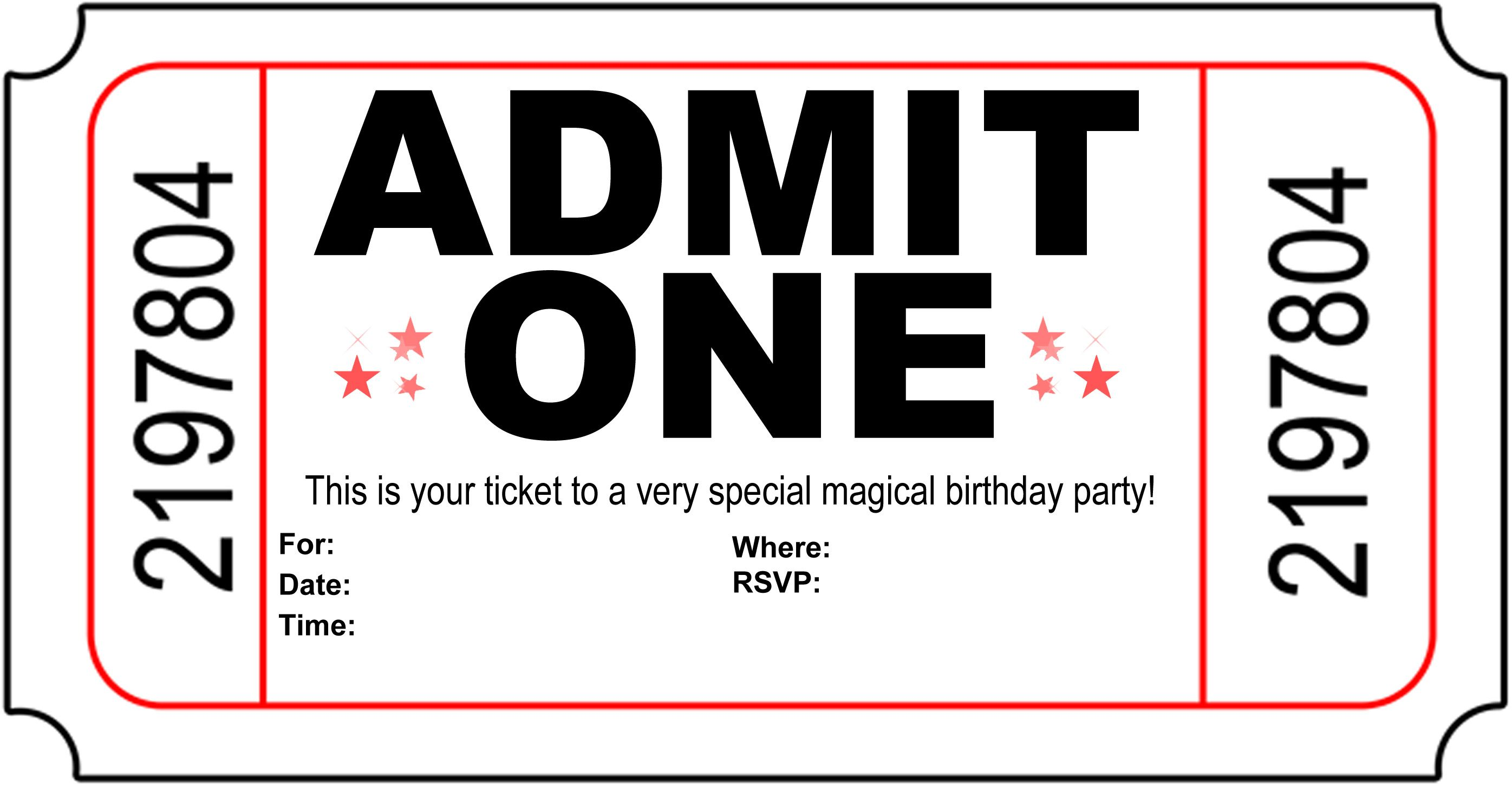 Movie Ticket Invitation Template Free Printable Free Printable Movie Ticket  Invite Video Tutorial On How To, Movie Ticket Birthday Invitations Printable  ...  Free Printable Movie Ticket Invitations