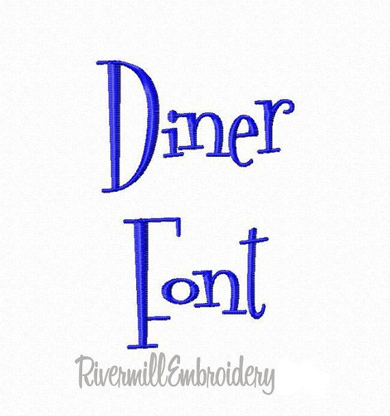 Diner Machine Embroidery Font Monogram by RivermillEmbroidery, $2.95