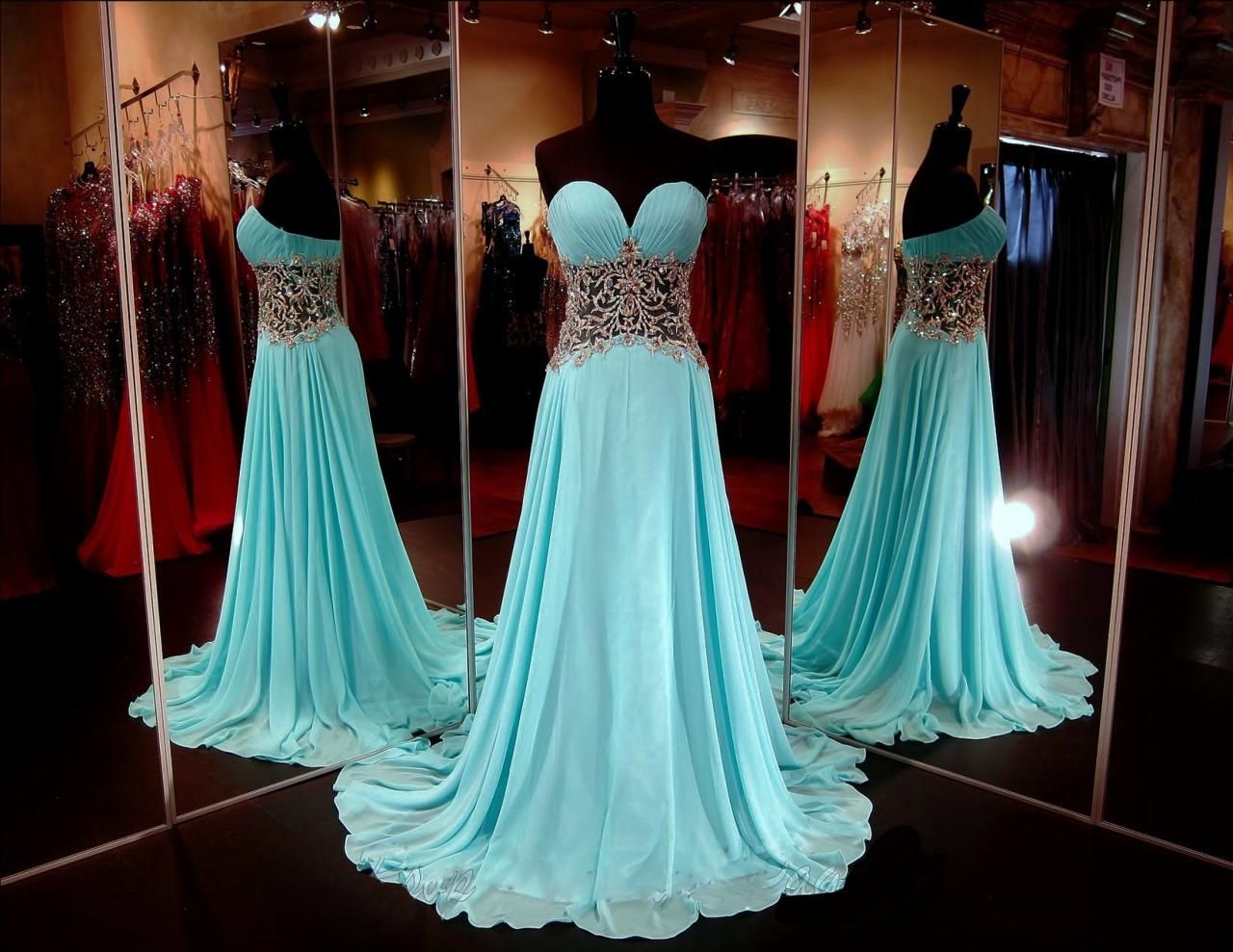 Blue Prom Dresses,A-Line Prom Dress,Sparkle Prom Dress,Strapless ...