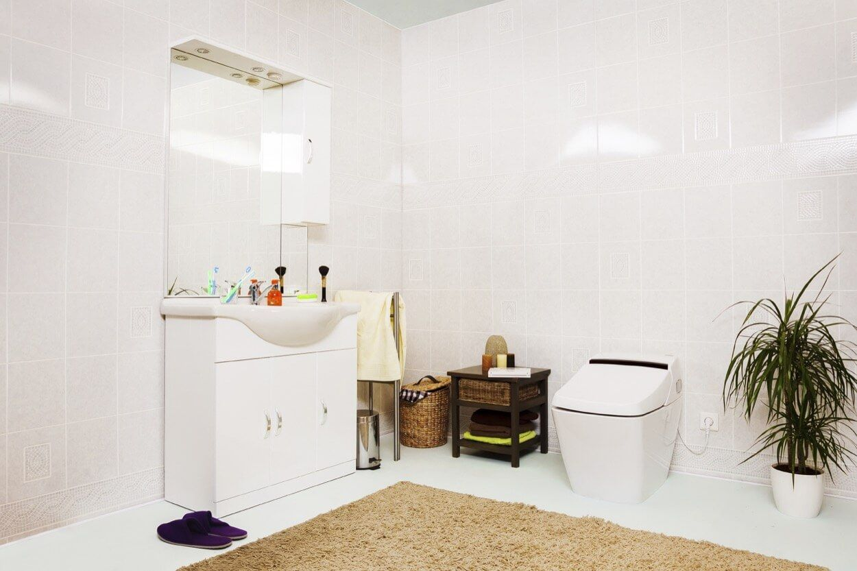 Clean Concept With White Tiled Walls | Bathroom Ideas | Pinterest ...