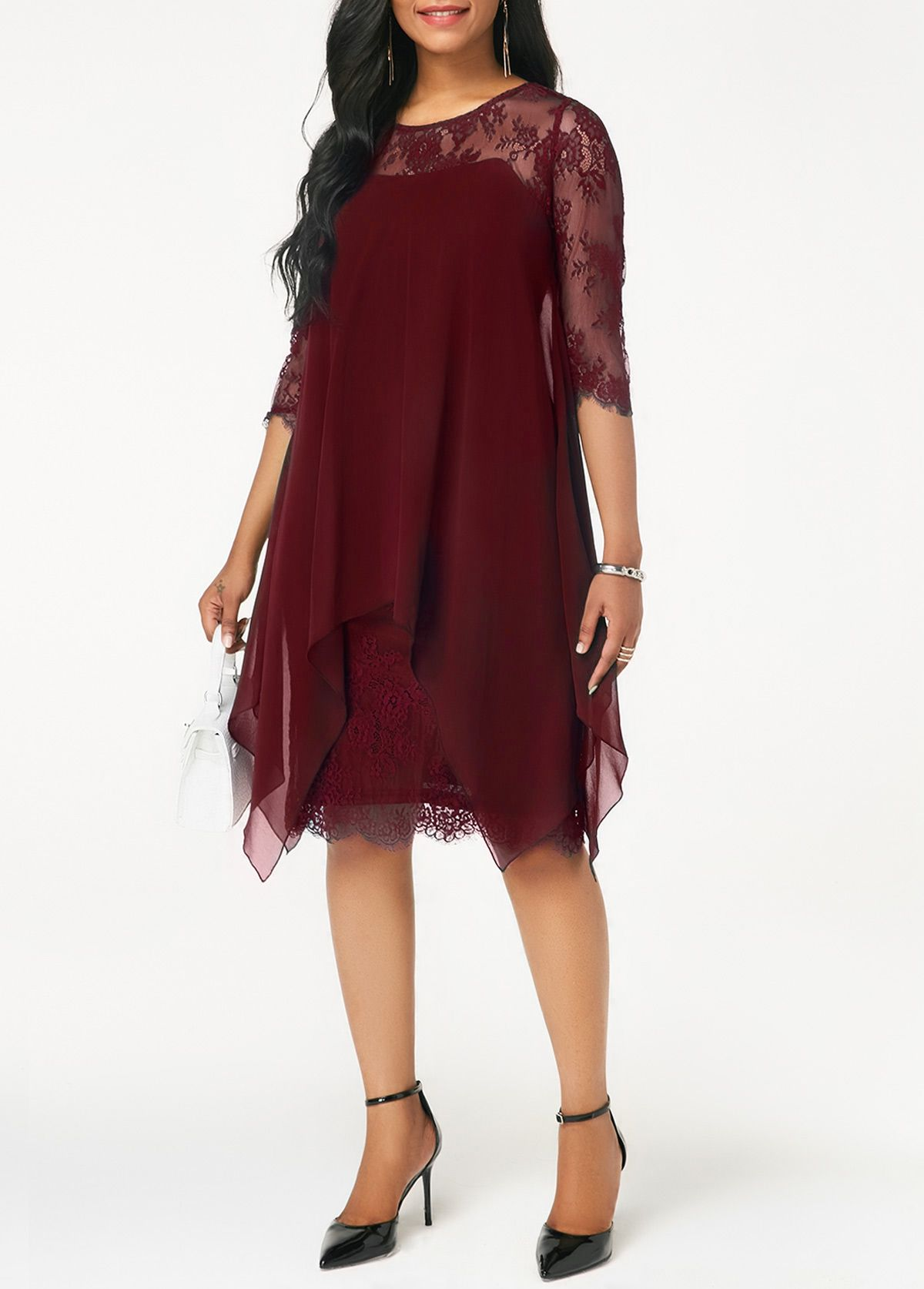 Wine red chiffon overlay lace dress in baby shower