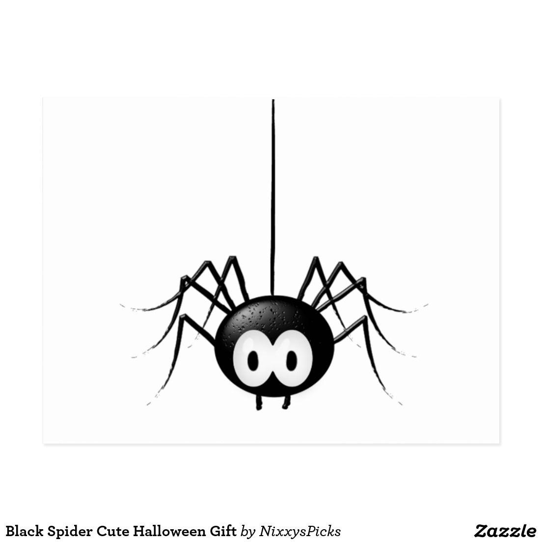Black spider cute halloween gift postcard black spider and spider
