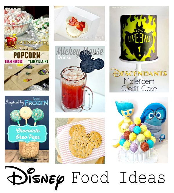 Look at all these cute Disney foods! Perfect for parties or movie snacking.