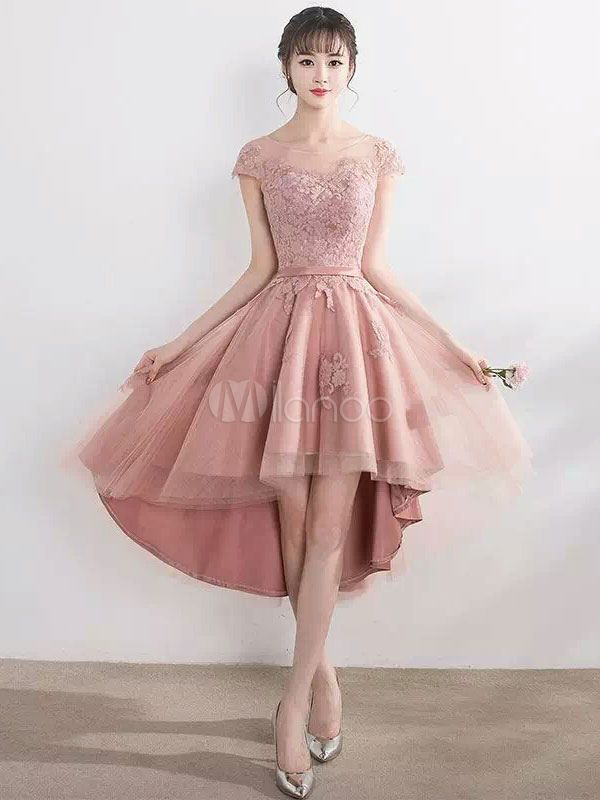 f980a0a6c Blush Pink Homecoming Dresses High Low Lace Applique Illusion Short Prom Dresses  2018