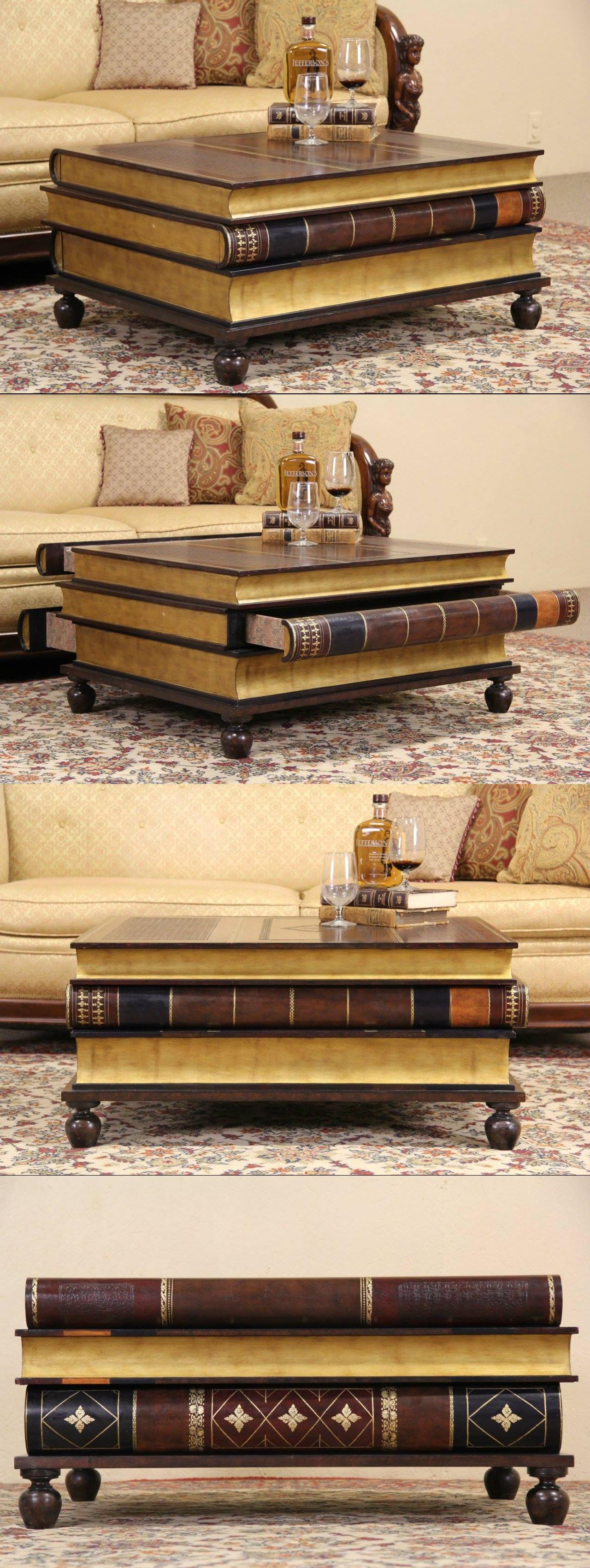 Maitland Smith Leather U0026 Gold Leaf Book Coffee Table