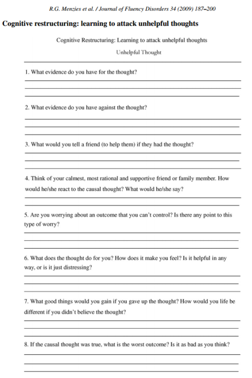 beetroots ofthemoons Cognitive Restructuring for Anxiety – Cognitive Restructuring Worksheet