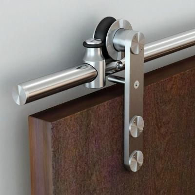 Soft Closed Satin Brass Pvd Rolling Barn Door Hardware Kit With 2 3 4 In Wheel Nt140009w06sc The Home Depot Barn Door Hardware Door Hardware Barn Door