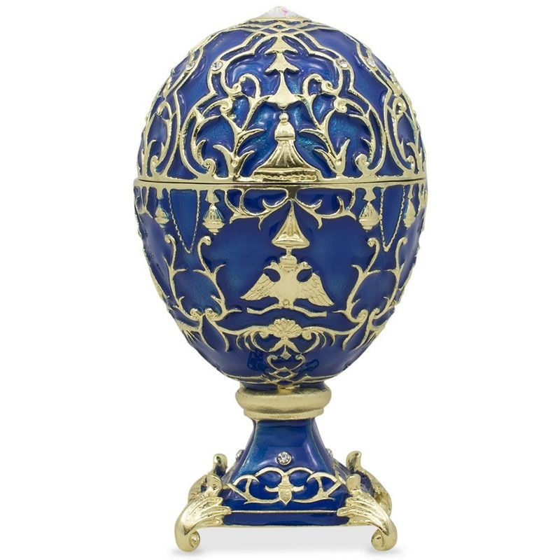 1912 Tsarevich Russian Faberge Egg Trinket Box W/Gift Box! Swarovski Crystals #BestPysanky