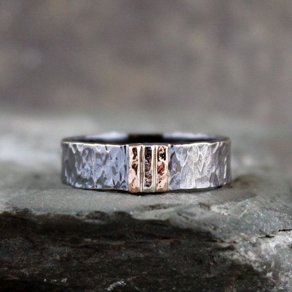 Mens Wedding Band Black Sterling Silver 14K Rose and White Gold