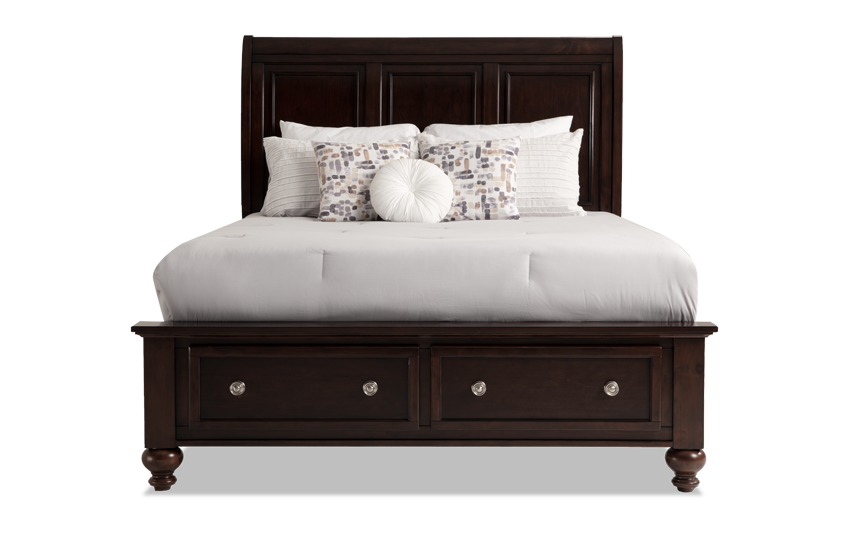 With my Portsmouth Storage Bed, you can sleep soundly knowing your storage is out of sight and out of mind! Finished in dark cherry and accented with shiny nickel hardware, this goodlooking bed with a sleigh headboard provides you with two spacious drawers in the footboard. It's all about the details with decorative framing on the drawer fronts as well as the smooth curves of the stylish headboard. Now you can stow things away in style while you sleep! Foundation not required. Mattress not inclu