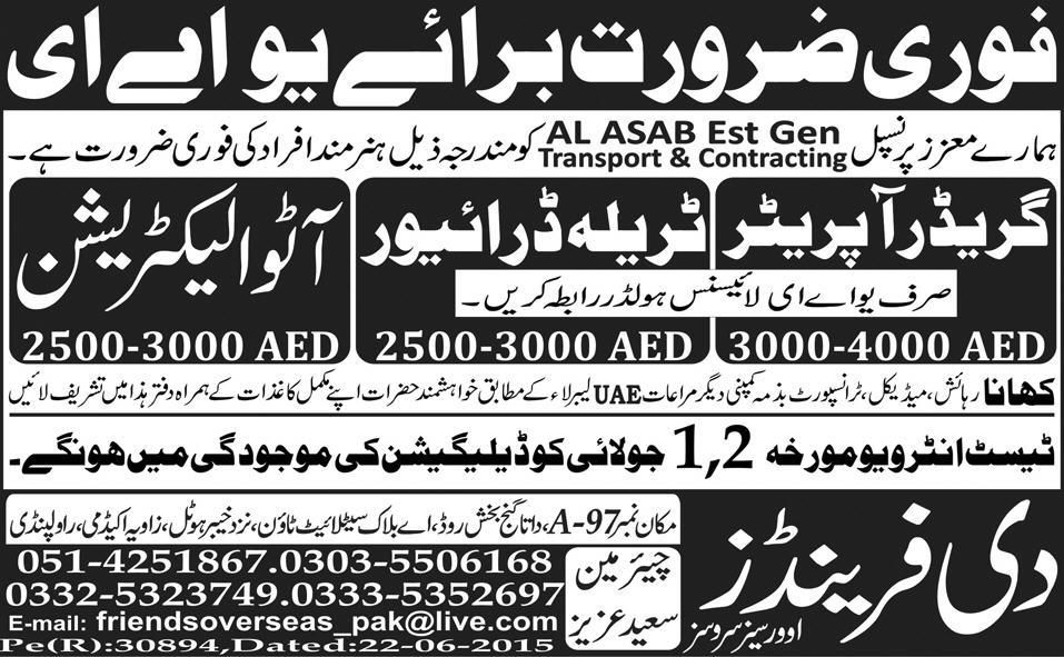 Operator Auto Electrician Trala Driver Job in UAE Libya, Jobs in - auto mechanic job description