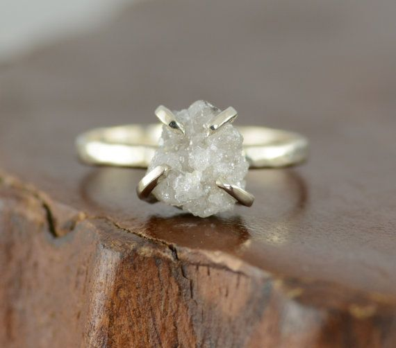 Large Rough Diamond Engagement Ring 14k by PointNoPointStudio