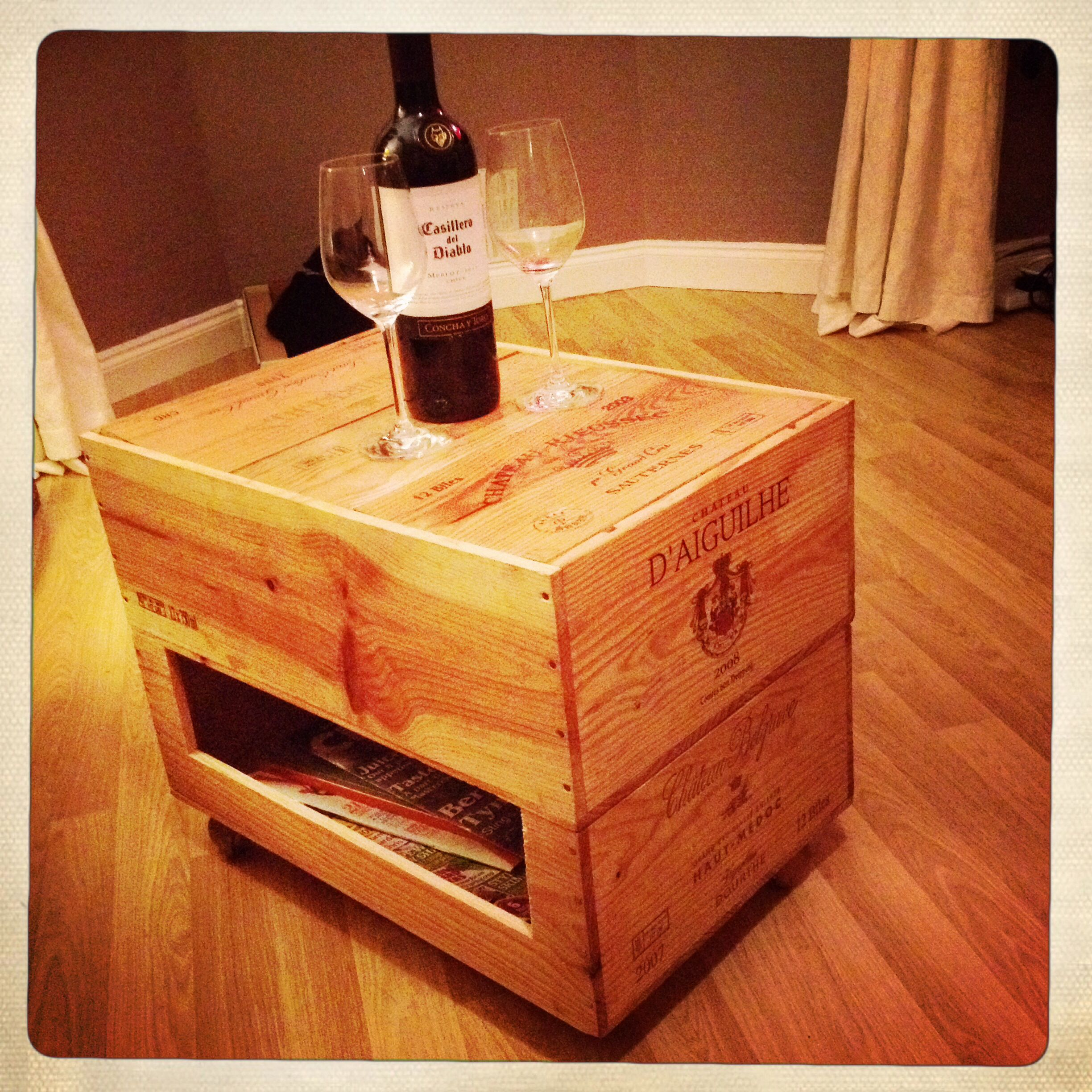 Wine box coffee table and magazine rack c/o Mr Morley