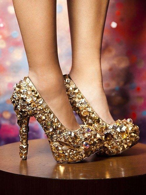 Gold High Heel Prom Sh...