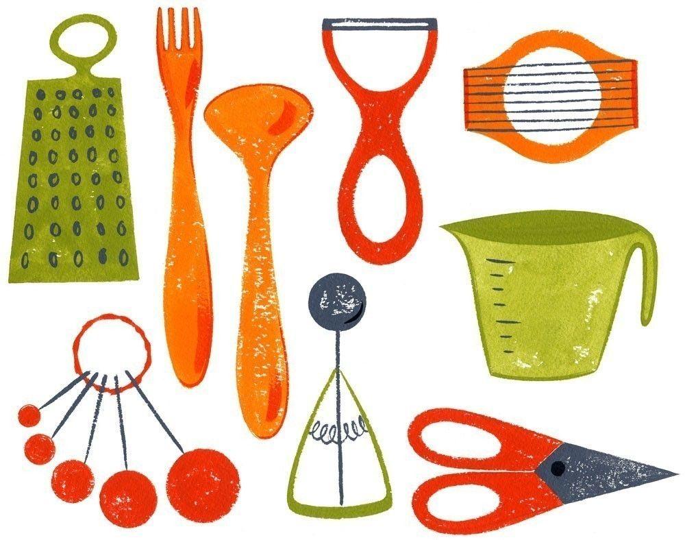 Kitchen Artwork Kitchen Utensils Art Print 85x11 Drawers Love And Kitchen