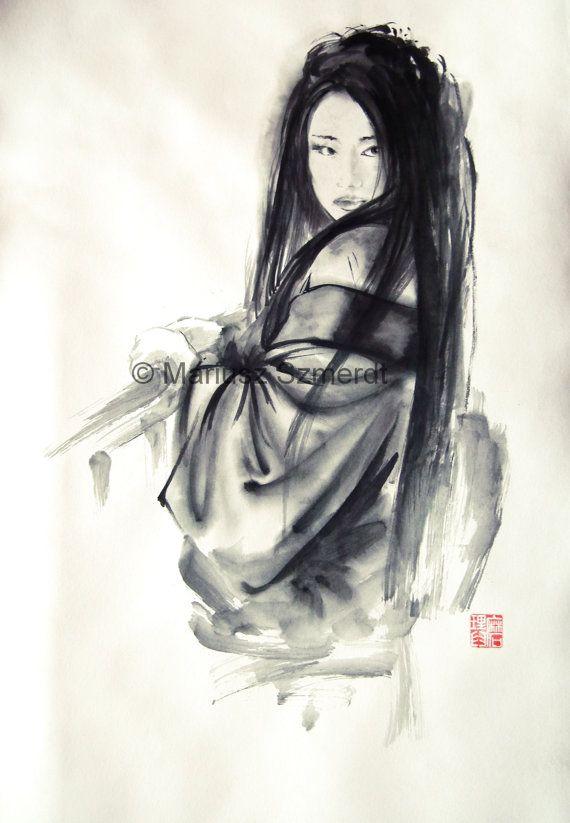 Japanese Woman Geisha In Kimono Traditional Japanese Sumi E